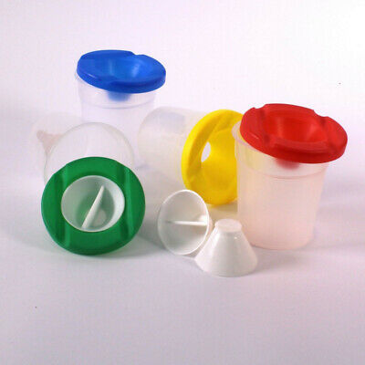 4PCS Plastic Non Spill Water Cup Paint Pot & Stopper Lid for Kids Painting #hua