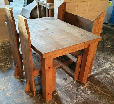Solid Wood Rustic Chunky Plank Dining Table With Pew Chairs & Bench , Pew Chair