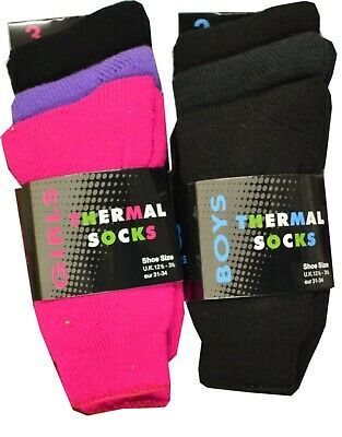 3 Pairs Children Boys/Girls Thermal Thick Boot Socks Teens Kids Winter Warm