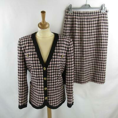 Vintage Aquascutum Ladies Two Piece Outfit, Skirt & Blazer - Pink & Black - UK12