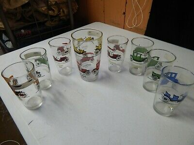 vintage ford chevy buick hudson drinking glass set rare collectable