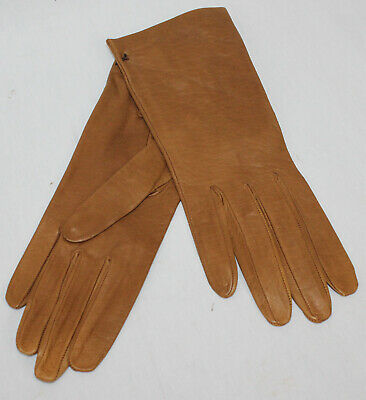Leather Gloves Vintage Womens Unworn Brown Super Soft Very Small Cognac Unlined