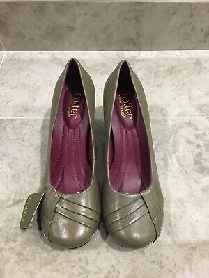 Hotter Clarissa Ladies Leather Taupe/Olive Comfort Court Shoes Size Uk 4