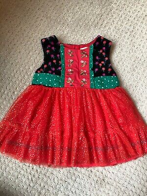 matilda jane size 4 nwt red, black, green sparkle tulle dress