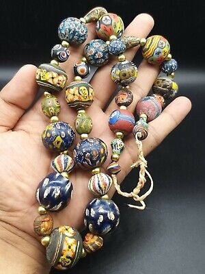 Rare Old Islamic Mosiac Glass Antuqe Diffrenet Faces Colours Unique Neckless