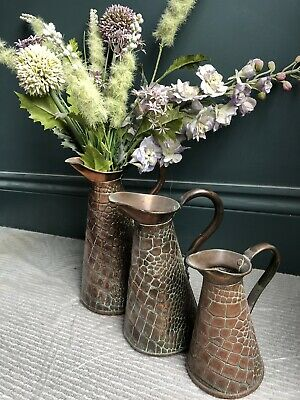 Antique Three Copper Jugs Flagons Arts And Crafts Snakeskin