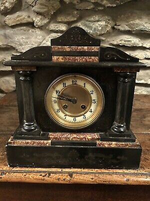 Antique Mantle Clock , Victorian Black Slate & Marble Japy Freres & Cie C:- 1855