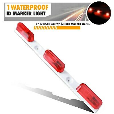 "18"" Red 3 Light Marker Clearance ID Sealed Metal BAR for Truck Trailer White"