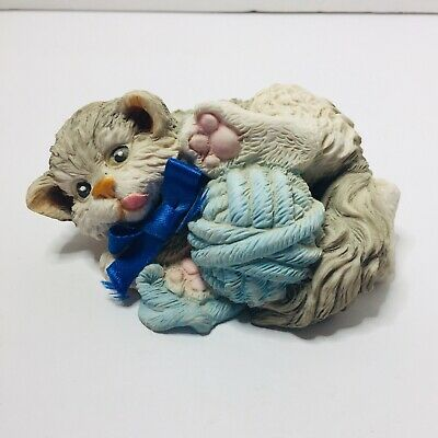 Griffee Whimsical Frisky Cat Kitten Figurine  Statue Playing With Yarn