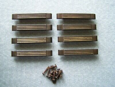 Lot Of 8 Antique Vintage Art Deco Brass Plated Drawer Pull Handles Ribbed