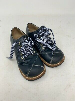 Vintage Navy Blue Leather Lace Oxford Boys Shoes Size 8 1/2 C Prop Made in U.S.A