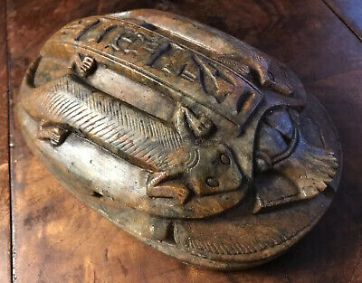 "Authentic Egyptian Heart Stone Scarab 8 X 5.5 X 3"" 7.6 Pounds Carved Antique"