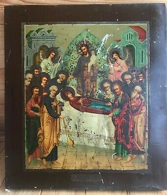 """Antique 19c Russian Orthodox Print on Metall Wood Icon""""Assumption of the Virgin"""""""