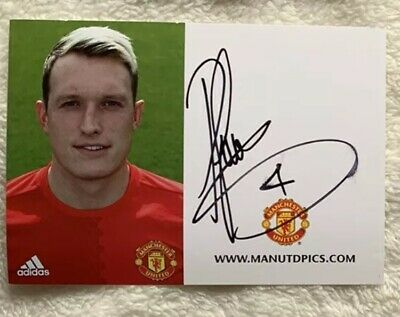 Phil Jones Hand Signed Autograph Photo - Manchester United Club Card
