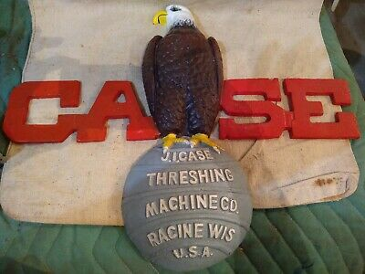 CASE Eagle On Ball Hand Painted Cast Iron Sign