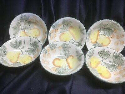 TABLETOPS UNLIMITED country orchard SET of 6 CEREAL SOUP BOWLS never used!