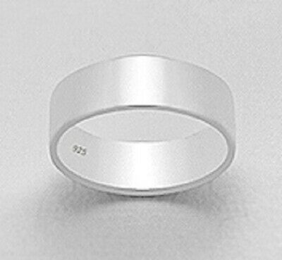 Sterling silver 925 flat cylinder band ring 12mm wide 6us 7us 9us 10us 11us 13us