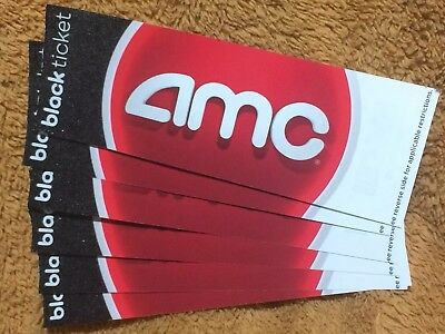 6 AMC BLACK Movie Tickets (Card Stock) No Expiration -- GREAT GIFTS!