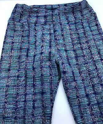 Lularoe Women's One Size Girls Women's Blue Square Pattern Leggings