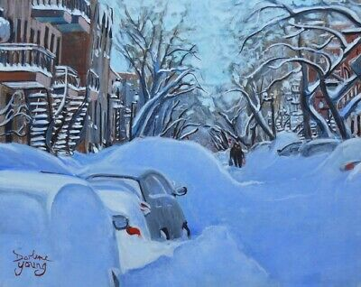 Montreal Winter Scene, 8x10, Egg Tempera, Darlene Young Canadian Artist