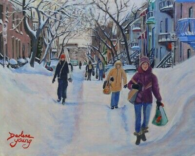 Montreal Scene Winter Weekend, 8x10, egg tempera , Darlene Young Canadian Artist
