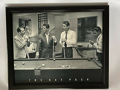 Framed Rat Pack Sinatra, Dean Martin, Lawford, Sammy Davis Jr. Billiards Pool