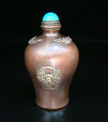 Collectible Handmade Carving Statue Copper Brass Snuff Bottles NO-03