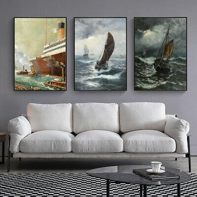 Sea Wave Sailing Boat Ship Canvas Wall Hangings Art Decor Oil Paint Poster Print