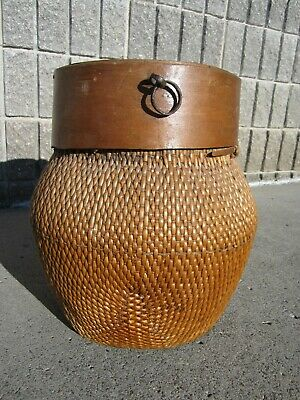 RARE Beautiful Original Antique Chinese Willow Grain Basket 16""