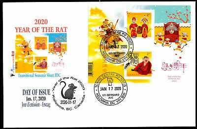 Year of the Rat - 2020-Canada Post- TRANSITIONAL Souv. Sheet FDC with TWO stamps