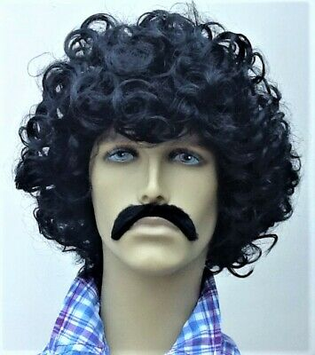 UK DIP BLACK CURLY AFRO STYLE FANCY DRESS WIG /& SELF ADHESIVE MOUSTACHE
