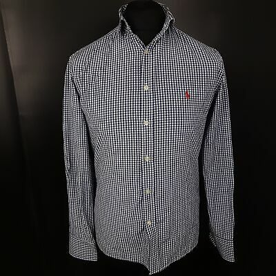Polo Ralph Lauren Mens Casual Shirt SMALL Long Sleeve Blue Slim Fit Check Cotton