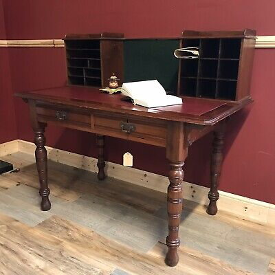 Edwardian 2 Drawer Desk With Gallery & Burgundy Leather Insert