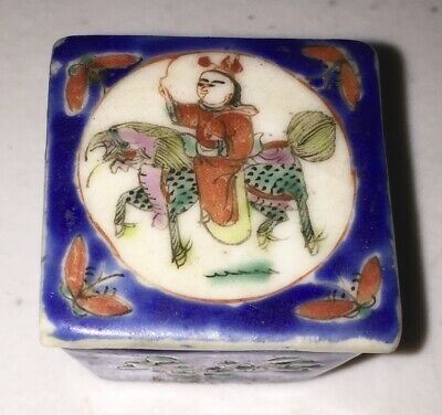 Scarce c1900 Chinese Porcelain in BLUE Salt cellar Covered Condiment Box