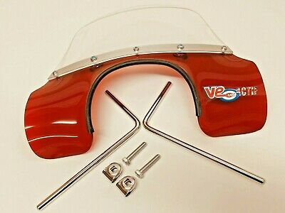 Vespa 150 Super Transparent Red Mod Style Flyscreen With Fitting Brackets