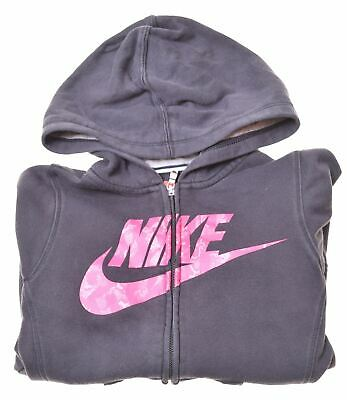 NIKE Girls Hoodie Sweater 10-11 Years Medium Black Cotton  LE02
