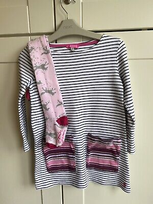 JOULES Age 6 Years Girls Tunic Stripe Top Dress And Tights Set Outfit Pink White
