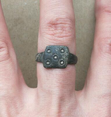 "Ancient Viking Old Bronze FABULOUS STATUS Ring Runic Ornament ""SOLAR"" VERY RARE"