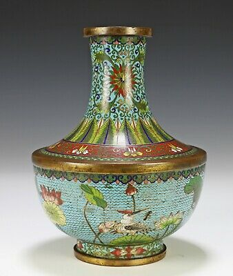 Antique Chinese Cloisonne Vase with Ducks and Lotus