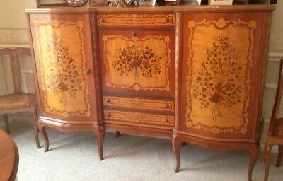 Antique Italian dining set and buffet with beautiful inlaid wood design