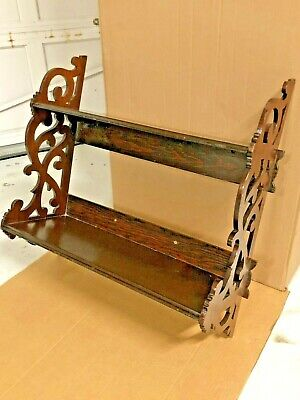Vintage Wood Wall Hanging FRETWORK CUT  OUT SIDES 2 Tier Shelf