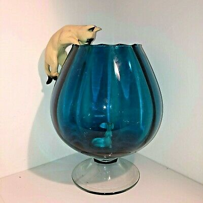 Vintage Retro Cat Mouse Giant  10inch Brandy Glass 1960s 70s Kitsch Blue Large