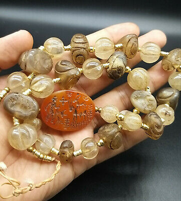 Rare Antique Very Old Rock Crystal Stamp with Deffernet Intaglios & Unique Beads