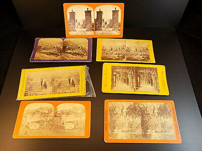 Lot of 7 Antique Stereoscopic Views Photos  Various Companies color backed cards
