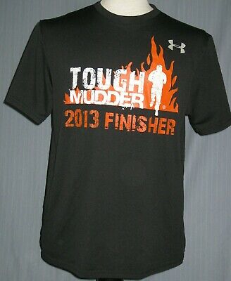 TOUGH MUDDER MENS ARMY CHALLENGE CAMOUFLAGE GRAPHIC TOP BLACK T SHIRT LARGE T23