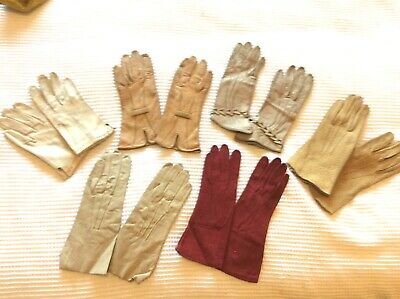 Job Lot - 6 pairs of vintage ladies leather and kid gloves good sound worn cond
