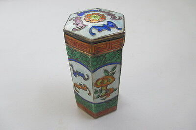 Chinese Cloisonne Enamel Silver Opium Jar Canister Box