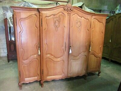 Pretty French 4 door Louis XV carved oak breakfront armoire ,wardrobe,Flat pack