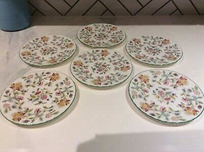 Minton Haddon Hall tea plates new excellent condition green edged