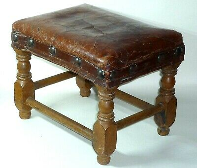 Antique,Vintage Leather Upholstered Wooden Footstool.Turned Legs.Original Paint.